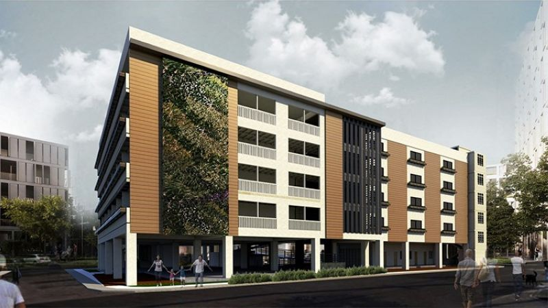 NEW HOME. Cebu Landmasters Inc. is building a five-story socialized housing for the informal settlers of Barangay Lorega-San Miguel. This 100-unit medium-rise building tenement housing will be turned over to the Cebu City Government after a year of construction. The project will include open spaces, parking areas, a chapel and a multi-purpose training hall. (CLI)