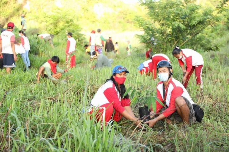 PLANTING TREES. Personnel from the Angeles City Government participate in a tree planting activity for the rehabilitation of the Angeles City Watershed in Barangay Sapangbato. The project is in partnership with the Abacan River Angeles Watershed Advocacy Council Inc. (Angeles City Information Office)