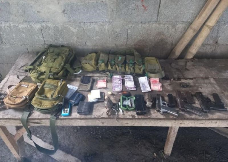 ZAMBOANGA. Three members of the Bangsamoro Islamic Freedom Fighters (BIFF) die in a clash with government troops Sunday, June 20, in Shariff Saydona Mutapha, Maguindanao while an encampment of the BIFF was discovered in Ampatuan, Maguindanao. A photo handout shows the war materials, including cash and suspected shabu the troops recovered from the encampment. (SunStar Zamboanga)