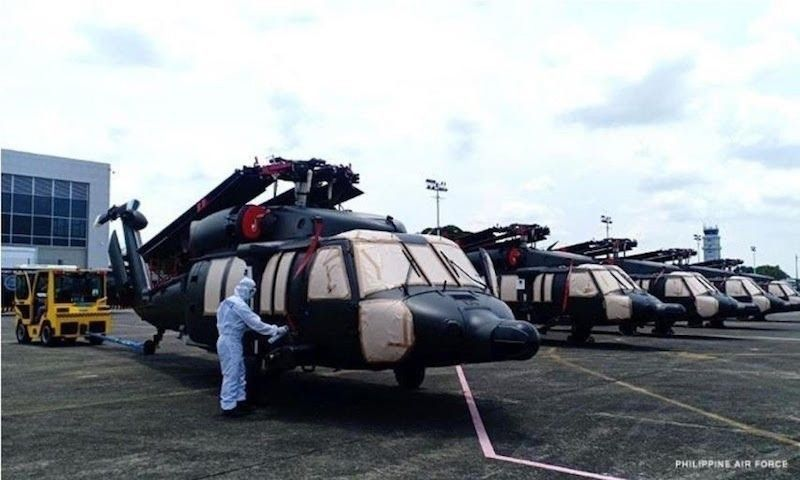MANILA. The Philippine Air Force takes delivery of Black Hawk helicopters in June 2021. (File)
