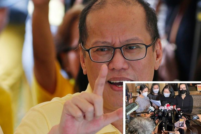 Sick for a long time. Former President Benigno Aquino III, 61, was in and out of the hospital even before the Covid pandemic struck in 2020, his sister Pinky Aquino-Abellada (inset, third from left) tells journalists at the Heritage Memorial Park in Taguig City on Thursday, June 24, 2021. His death certificate indicated the cause as renal failure secondary to diabetes, Abellada said. With her are her sisters (from left) Ballsy, Viel and Kris. / AP