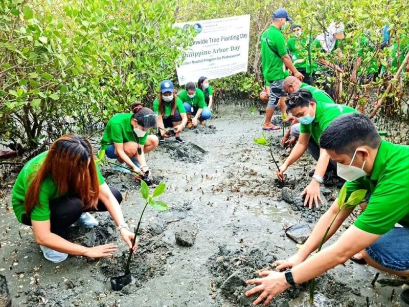 More than 4,000 mangrove propagules covering two hectares were planted in the coastal waters of Barangay Consuelo in Macabebe town to strengthen the protection of marine ecosystem and help boost the rehabilitation of Manila Bay, and as part of the celebrartion of Arbor Day and Environment Month. (Photo courtesy of DENR)