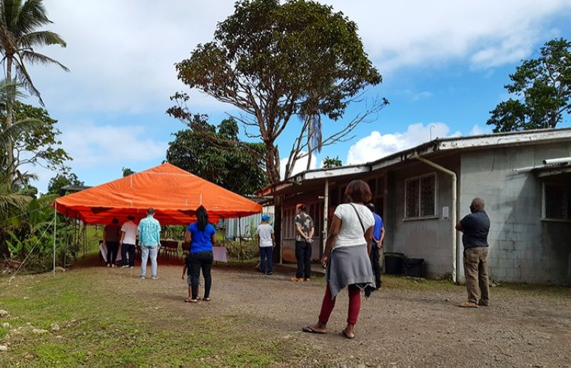 FIJI. People queue for a Covid-19 vaccination in Suva, Fiji, Friday, June 25, 2021. (AP)