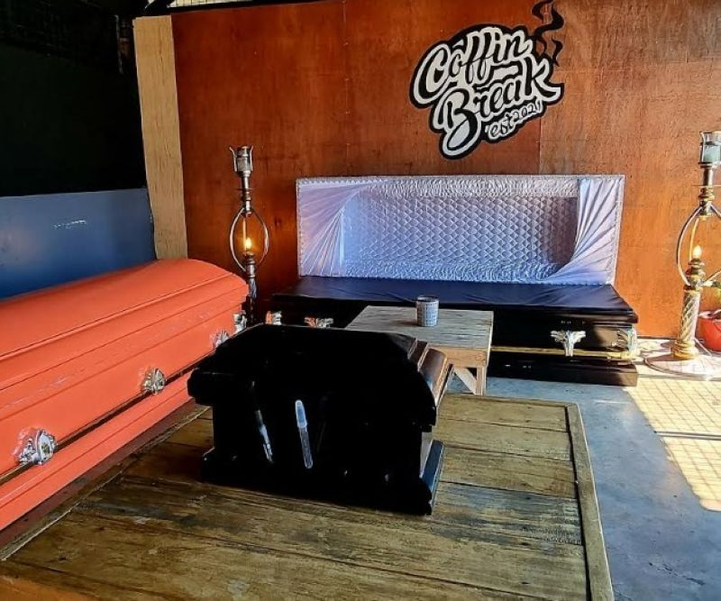 NEGROS. Enjoy coffee at Coffin Break located on Burgos Street, near the Regional hospital in Bacolod City. This bistro clenches a peculiar setting with the adornment of brand new coffins that were made as available seats for their guests. (Carla N. Cañet)