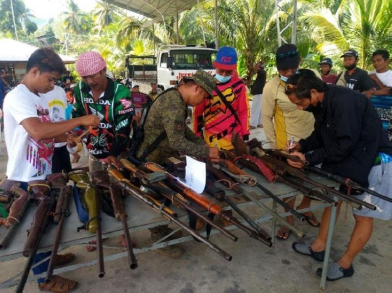 ZAMBOANGA. Military troops seize 42 firearms as they launched focused military operation on Thursday, July 1, in Maitum, Sarangani province. A photo handout shows soldiers inspecting the confiscated firearms comprising mostly of shotguns. (SunStar Zamboanga)