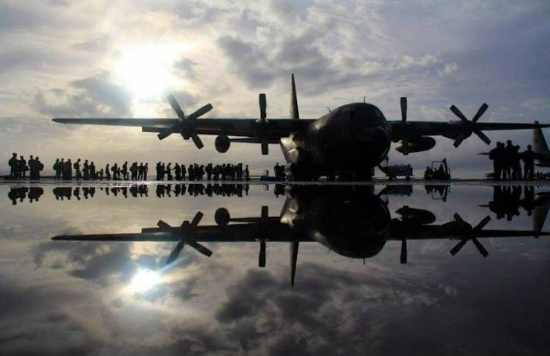 A C-130 aircraft is the workhorse of the Philippine Air Force as it is used not only to transport personnel but also for relief operations, and delivery of basic goods and services. (From SND Delfin Lorenzana's Twitter)