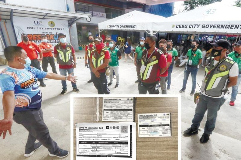 VACCINATION, VAX CARDS. Cebu City Councilor Dave Tumulak (leftmost) briefs members of Prevention, Restoration, Order, Beautifi cation and Enhancement (Probe), Task Force Kasaligan (TFK), and Quick Response Team (QRT) on making sure that people scheduled for vaccination at the University of Cebu (UC) Campus on J. Alcantara Street, Barangay Sambag 1 observe the health and safety protocol Monday, July 5, 2021. That, as local police anticipate the circulation of fake vaccination cards to be presented at ports following the loosening of domestic travel requirements. Inset shows three genuine vaccination cards of Sinovac, Pfi zer and AstraZeneca. / AMPER CAMPAÑA (ABOVE), ROMAYNE POLAVIEJA (INSET)