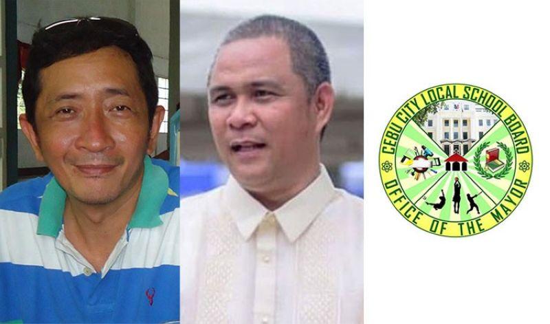 "CEBU. (From left) Ronald ""Raddy"" Diola, Cebu City Administrator Floro Casas Jr., and logo of the Cebu City Local Scholl Board. (Diola's Facebook account/SunStar File)"