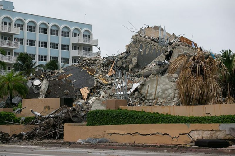 USA. Rubble and debris of the Champlain Towers South condo can be seen Tuesday, July 6, 2021 in Surfside, Florida. (AP)