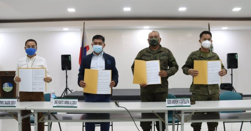 PARTNERSHIP. The Department of Environment and Natural Resources forged a Memorandum of Partnership with the 703rd Infantry Brigade, 7th Infantry Division of the Philippine Army to further boost the forest and wildlife protection and save the remaining forests in Central Luzon. (DENR)