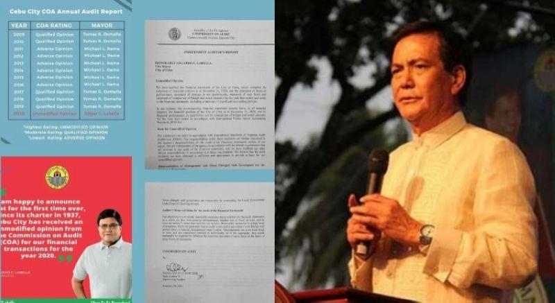 CEBU. Reproduction of Cebu City Mayor Edgardo Labella's post and a photo of  Mayor Michael Rama. (Contributed photo/File photo)