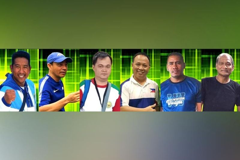 NEGROS. Veteran Negrense coaches who made names in the international and national competitions will serve as speakers during the week-long Abanse Negrense Free Online Sports Mentoring Program. (from left) Brian Martir (arnis), John Carmona (football), Leo Romitman (chess), Jay Biñas (badminton), Aden Nietes (boxing), and Elvis Atinado (basketball). (FB Photos)