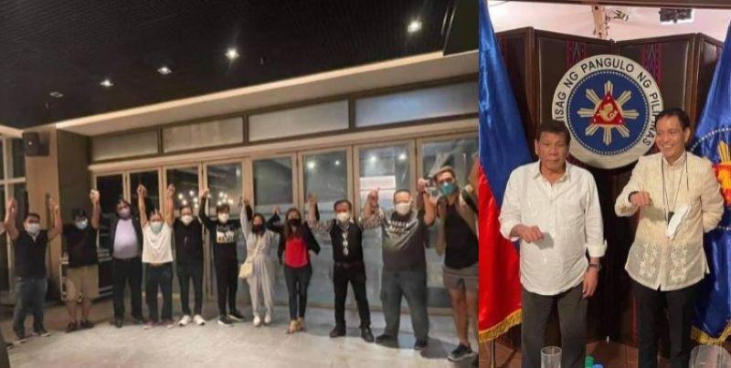 CEBU. (From left) Barug members raising hands and President Rodrigo Duterte with Cebu City Vice Mayor Michael Rama. (Contributed photos)