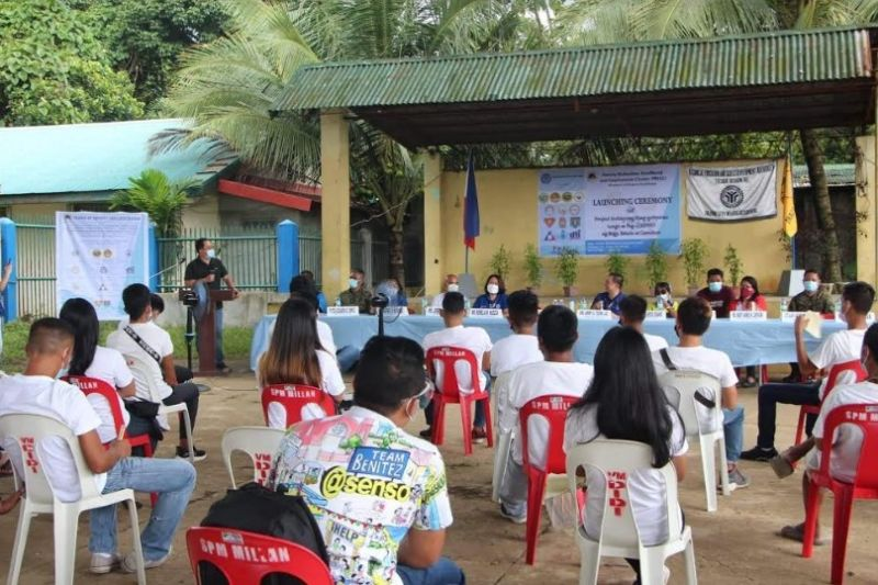 NEGROS. Victorias City Mayor Francis Frederick Palanca speaks at the launching of the Poverty Reduction, Livelihood and Employment Cluster project at Barangay Estado Elementary Covered Court in Victorias City last week. (Contributed photo)