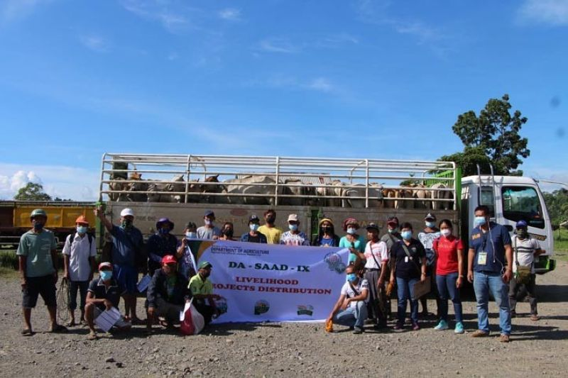 ZAMBOANGA. The Department of Agriculture-Special Area for Agricultural Development (DA-SAAD) dispersed last week 30 heifers, as it approved the P1.3-million cattle raising production project association of farmers in Katipunan, Zamboanga del Norte. A photo handout shows the recipients of the project together with DA-SAAD officials in a group photograph during the dispersal of heifers. (SunStar Zamboanga)