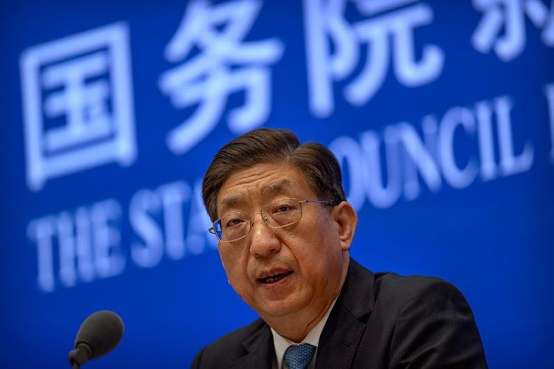 CHINA. Zeng Yixin, Vice Minister of China's National Health Commission, speaks at a press conference at the State Council Information Office in Beijing, Thursday, July 22, 2021. (AP)