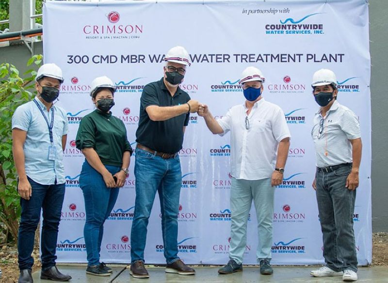 Officials of Crimson Resort and Spa, Mactan and Countrywide Water Services Inc. inspect the resort's new on-site Sewage Treatment Plant during the facility's testing and commissioning on July 7, 2021. Photo shows (from left) Robert Navales, Seascapes Estate assistant manager; engineer Christine Acosta, CWSI plant operations and water distribution head; Juan Eugenio Roxas, CWSI president and CEO; Didier Belmonte, Crimson Resort and Spa Mactan general manager; and Salvador Reyes, CWSI assistant vice president.