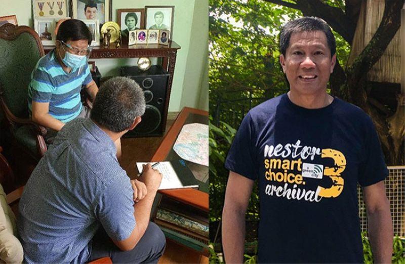 CEBU. Cebu City Mayor Edgardo Labella with City Administrator Floro Casas Jr., and Cebu City Councilor Nestor Archival (right). (Photos from Facebook accounts of Casas and Archival)