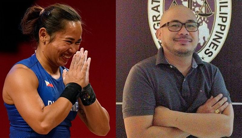 TACLOBAN. Olympian Hidilyn Diaz (left) and Tacloban City-based litigation lawyer and sports fan Aljim Denver Arcueno. (AP/Contributed)