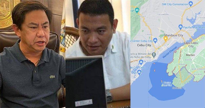 "CEBU. Lapu-Lapu City Mayor Junard ""Ahong"" Chan, Lapu-Lapu City DRRMO head Nagiel Banacia, and map showing Lapu-Lapu City and Cebu City. (SunStar File/Google Maps)"