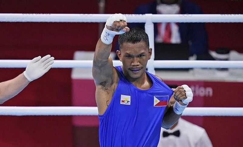 QUARTERFINALS. The 25-year-old Eumir Marcial, who trains under the tutelage of Freddie Roach, lived up to his billing and demolished Algerian Younes Nemouchi in the 2:41 mark of the opening round of the Men's Middleweight division on Thursday, July 29, 2021 at the Kokugikan Arena in Tokyo, Japan. Marcial advances to the quarterfinals and will face Armenian Arman Darchinyan on Aug. 1, 2021. (AP)