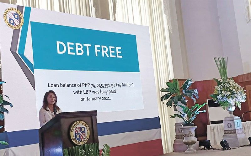 CHARTER DAY. Cebu Gov. Gwendolyn Garcia marks the 452nd founding anniversary of the Province with a declaration that Cebu is finally debt free. Garcia made the announcement in a speech at the Capitol Social Hall on Friday, August 6, 2021. / Mary June V. Enriquez