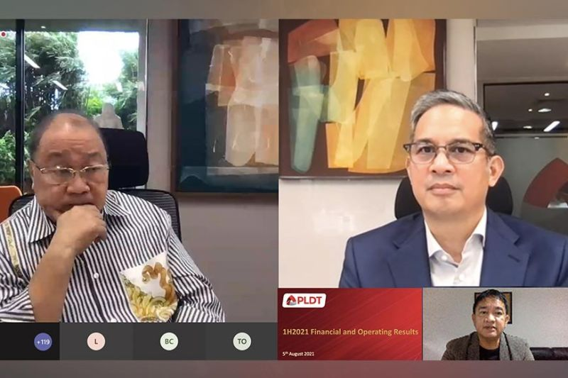 PLDT HONCHOS. PLDT Chairman Manuel V. Pangilinan (left) and PLDT President/CEO Alfredo Panlilio in the first half disclosure report on a video conference with SunStar columnist Noel G. Tulabut (inset).