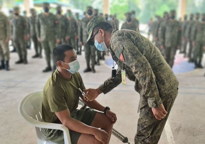 ZAMBOANGA. The Army's 102nd Infantry Brigade awards Wounded Personnel Medal (WPM) to Private First Class Nestor Apanon for gallantry against the communist terrorist New People's Army (NPA) in Zamboanga del Norte. A photo handout shows Brigadier General Leonel Nicolas, 102nd Infantry Brigade commander (right), pinning the WPM when he visited the 97IB troops Friday, August 20, in Del Pilar village, Piñan, Zamboanga del Norte. (SunStar Zamboanga)