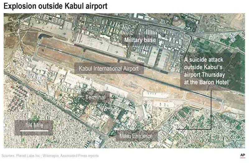 Satellite image shows Kabul International Airport and the location of an explosion near the Abbey Gate. (AP)
