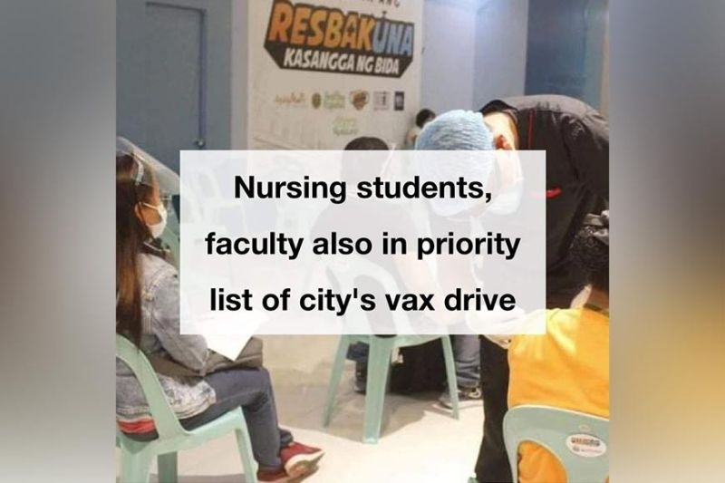 BACOLOD. Nursing students and faculty are now also on priority list of Bacolod City's vaccination drive. (Bacolod City PIO)