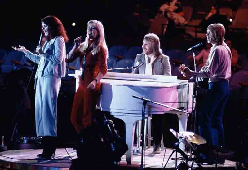 Abba, from left, Anni-Frid Lyngstad, Agnetha Foltskog, Benny Andersson and Bjorn Ulvaeus perform at United Nations General Assembly, in New York, during taping of NBC-TV Special,