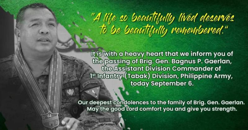"""SECOND IN COMMAND. Brigadier General Bagnus Gaerlan, the second in command of the 1st Infantry """"Tabak"""" Division (ID), the premier unit of the Philippine Army, succumb to coronavirus disease 2019 (Covid-19) on Monday, September 6, while under treatment at the Zamboanga del Sur del Sur Medical Center. (1ID Public Affairs Office)"""