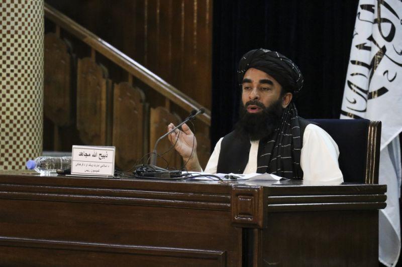 AFGHANISTAN. Taliban spokesman Zabihullah Mujahid speaks during a press conference in Kabul, Afghanistan Monday, Sept. 6, 2021.(AP Photo)
