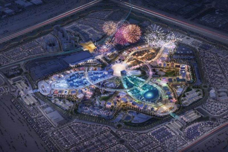 EXPO 2020 DUBAI. Aerial view of the expo which has been rescheduled to open in October 2021.