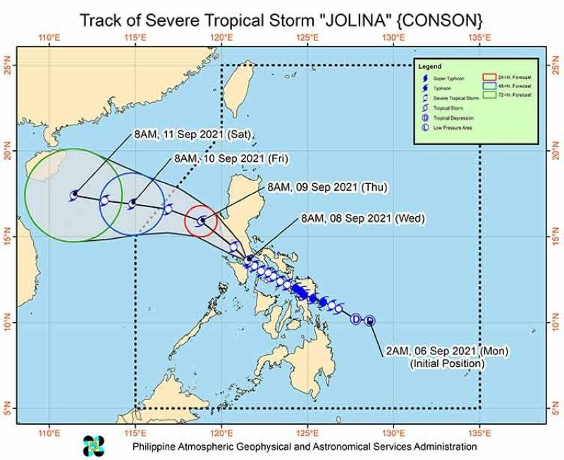 Track of Severe Tropical Storm Jolina (Source: Pagasa)