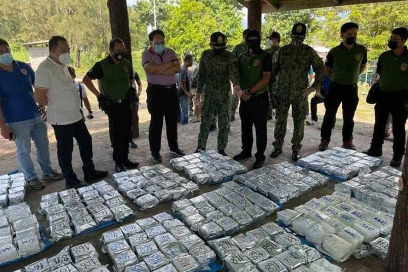 DRUG HAUL. Authorities seize an estimated 500 kilograms of shabu worth P3.4 billion in a drug bust in Zambales on Tuesday, Sept. 7, 2021. / Philippine National Police