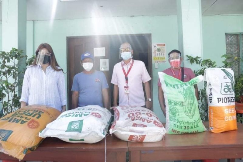 """PAMPANGA. On behalf of Mayor Carmelo """"Pogi"""" Lazatin, Jr., Executive Assistant IV Reina Manuel on September 7, 2021, turns over 150 bags of organic fertilizers, 30 bags of white corn seeds, and 10 bags of yellow corn seeds to 40 farmers in the city, represented by Emmanuel Paras of Pulungbulu. With her is City Agriculture Office Head Erickson Dagdag during the distribution. (Angeles City Information Office)"""