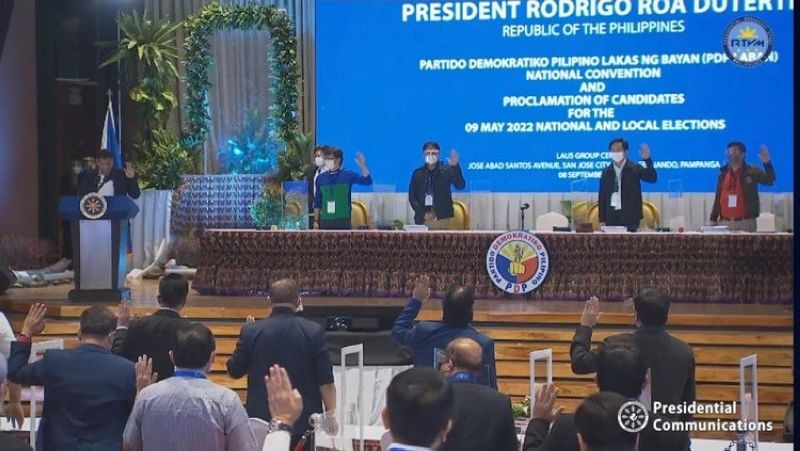 PDP-LABAN NATIONAL CONVENTION. President Rodrigo Roa Duterte gracds the national convention of the PDP-Laban held at LasusGroup Event Centre in the City of San Fernando, Pampanga. (Malacanang/RTVM photo)