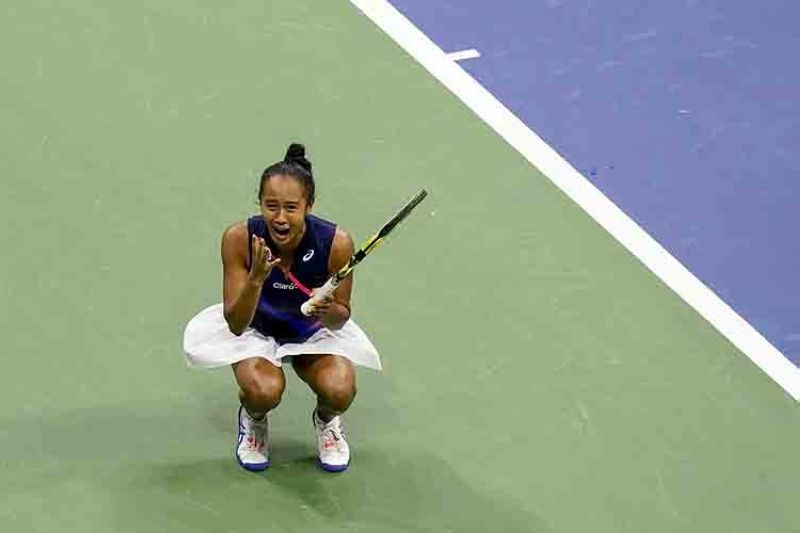 Leylah Fernandez, of Canada, reacts after defeating Aryna Sabalenka,of Belarus, during the semifinals of the US Open tennis championships, Thursday, Sept. 9, 2021, in New York. (AP Photo/Frank Franklin II)
