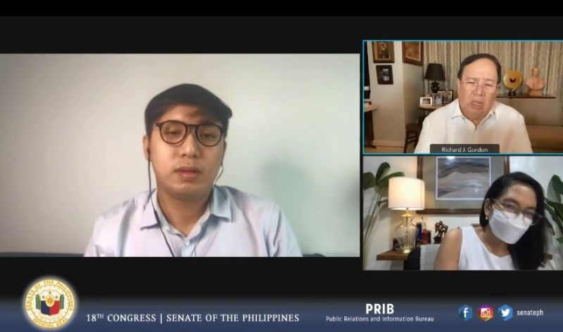 MANILA. Pharmally CEO Huang Tzu Yen tells the Senate blue ribbon committee that the funds used to purchase medical supplies for the PS were lent to them by Michael Yang, former presidential adviser for economic affairs. (Screenshot from Senate video)