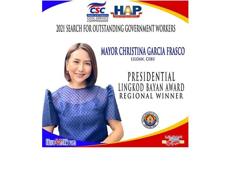 Mayor Christina Frasco named Presidential Lingkod Bayan regional winner (Contributed photo)