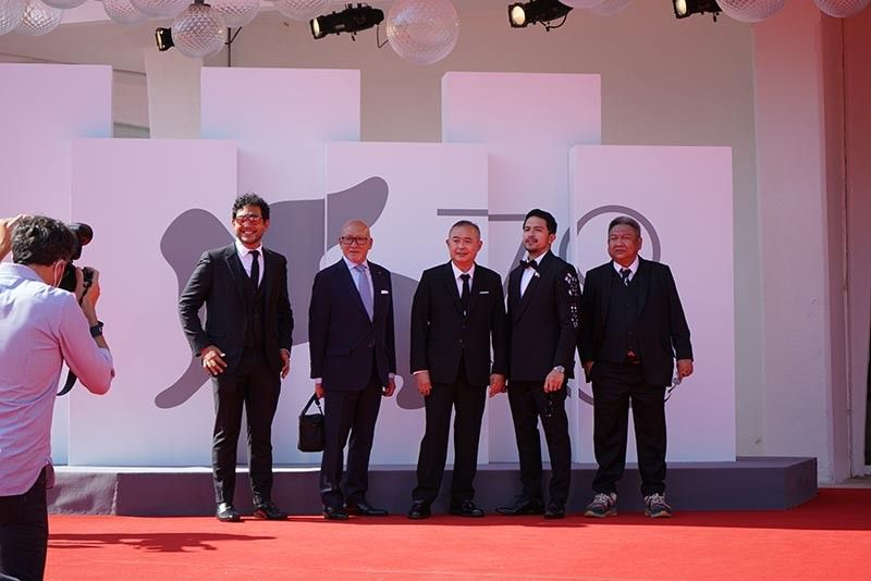ITALY. Producer Quark Henares, Asian Cultural Council Philippines Foundation chairman Ernest Escaler, producer Dondon Monteverde, actor Dennis Trillo, and director Erik Matti at the Venice red carpet. (Contributed photo)