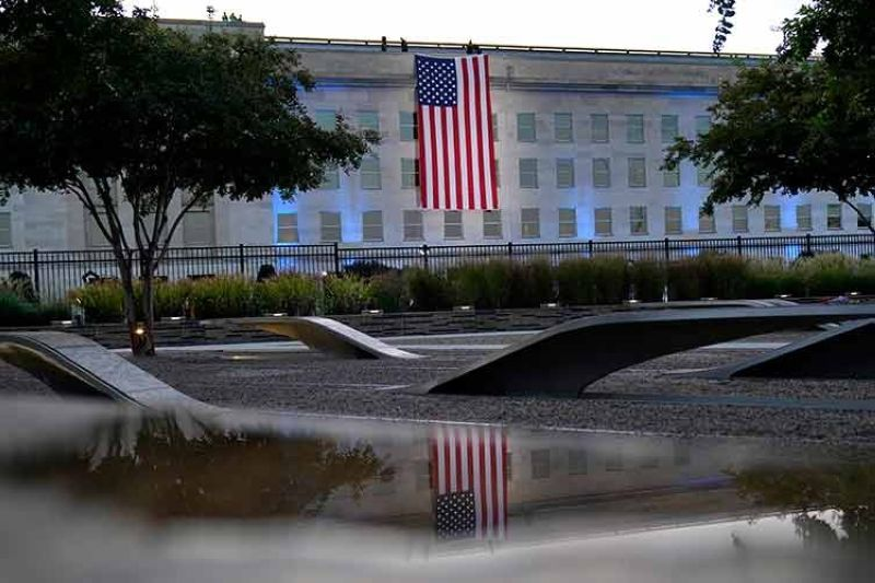 USA. An American flag is unfurled at the Pentagon in Washington, Saturday, September 11, 2021, at sunrise on the morning of the 20th anniversary of the terrorist attacks. (AP)