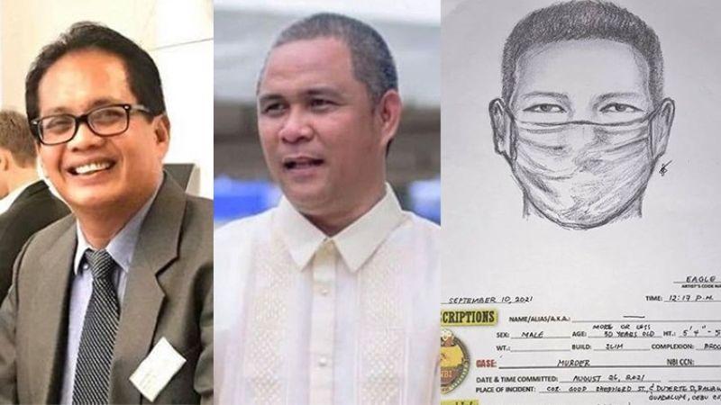 CEBU. (From left) Arturo Barrit, Cebu City Administrator Floro Casas Jr., and NBI sketch of Atty. Rex Fernandez's shooter. (SunStar File/NBI)