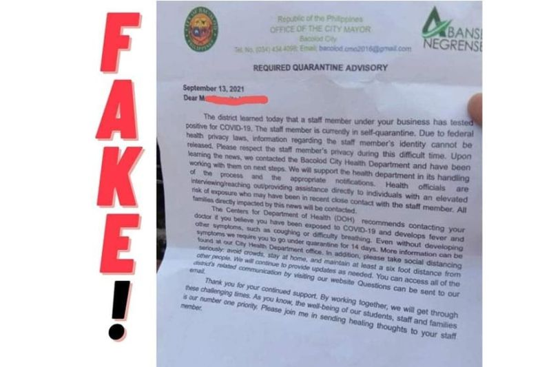 BACOLOD. The fake letter sent to a household at Barangay Taculing in Bacolod City before it was sealed off on Saturday, September 17. (Contributed photo)