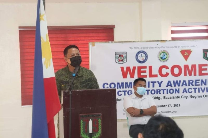 79IB commanding officer Lieutenant Colonel J-jay Javines encourages residents of Escalante City to renounce the atrocities of the New People's Army. (Contributed photo)
