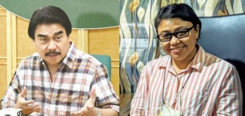 Bacolod City Mayor Evelio Leonardia (left)  opposes the assumption of  Bacolod City Acting Election Officer Ma. Fatima Aspan (right). (Contributed photos)