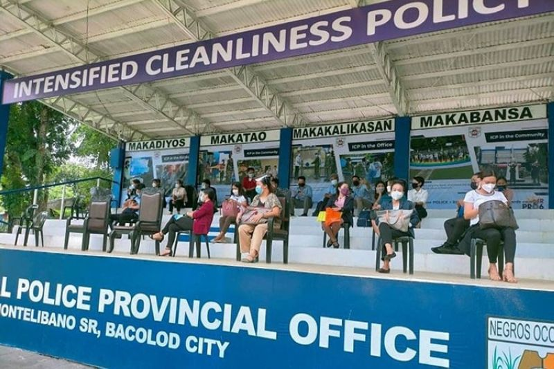 Negros Occidental Provincial Police Office Non-uniform personnel applicants undergoscreening and interviewon September 14, 2021. (ContributedPhoto)