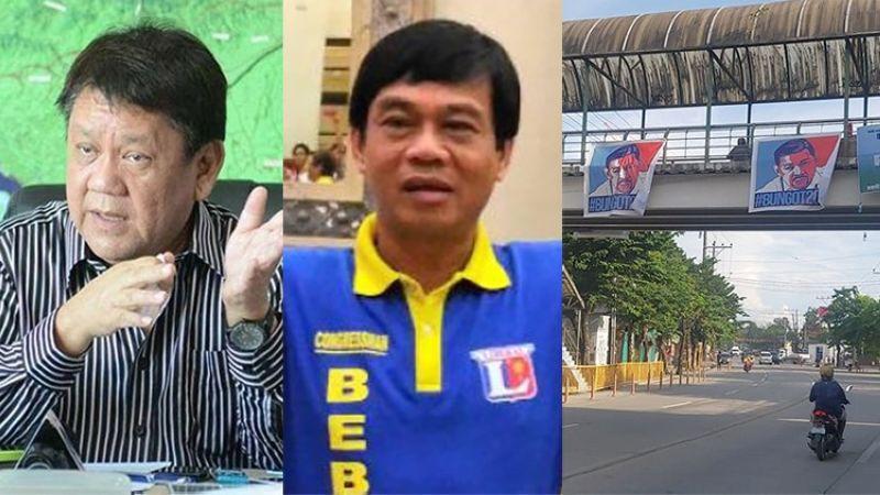 CEBU. Former Cebu City mayor Tomas Osmena, Representative Bebot Abellanosa and streamers on a skywalk with the photo of LTO-Central Visayas Director Victor Caindec. (SunStar File/Alan Tangcawan)