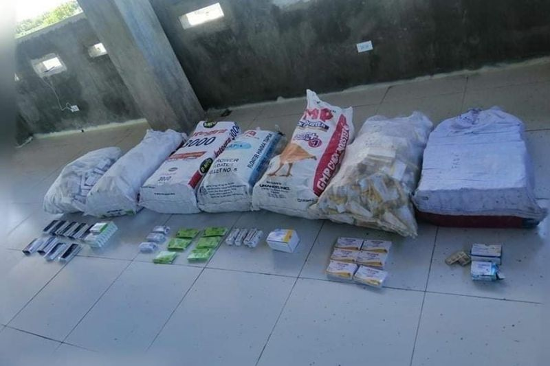 FAKE MEDICINES. Pampanga police were able to recover seven sacks of various medicines believed to be counterfeit from a drug suspect. (Contributed photo)